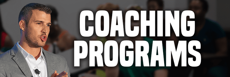 An image that says Coaching Program in large white letters and shows an image of Cody Askins
